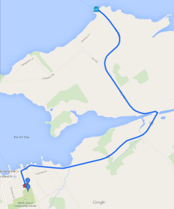 Driving directions from Dawson Point Terminal (winter ferry dock) to Marysville Public School